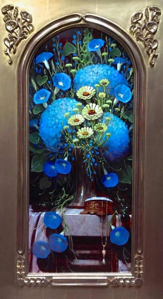 Blue Hydrangeas w Morning Glories