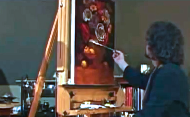 """The artist at work in studio"""