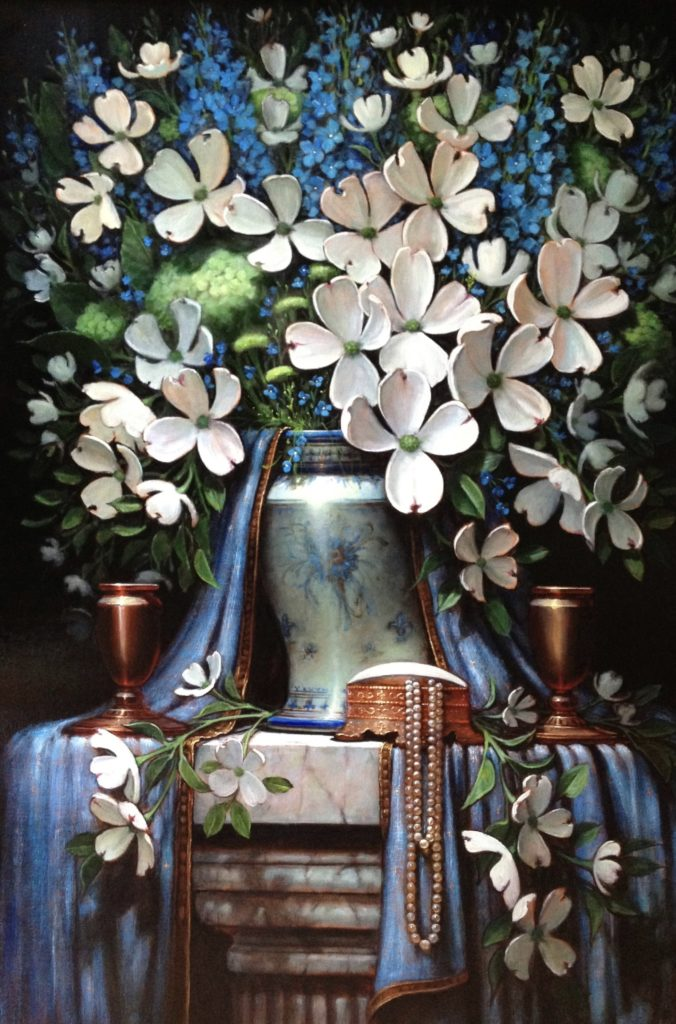 Dogwood Blossoms and Pearls_36 x 24