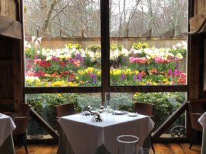 Enjoy the beautiful garden view from the bistro inside the White Barn Inn – Kennebunkport, ME