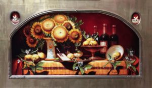 Tuscany(Sunflowers & Lemon Blossoms) oil, 24 x 28″ arch.  SOLD by Chatham Fine Art and headed to Ohio.
