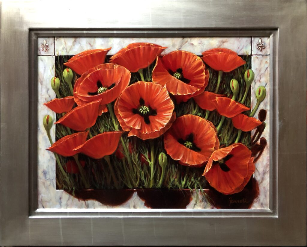 Red Poppies through Italian Marble